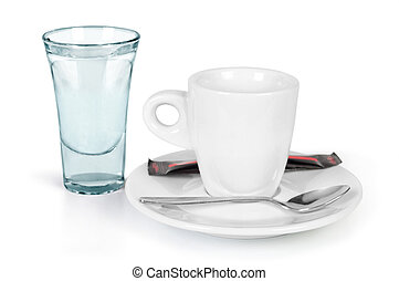 cup of coffee with a glass of water