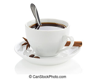 cup of coffee with beans and spoon