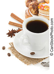 cup of coffee with beans and sweets isolated on white ...