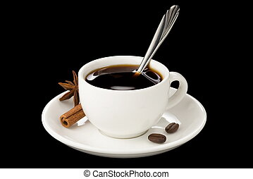cup of coffee with beans isolated on black background