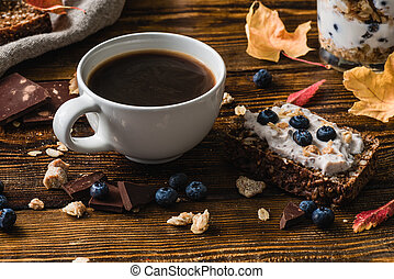 Cup of Coffee with Blueberry Toast