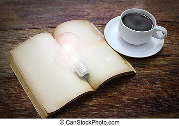 cup of coffee with book and light bulb