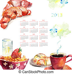Cup of coffee with buns, Calendar for 2013
