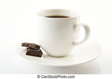 Cup of coffee with chocolate and saucer on white
