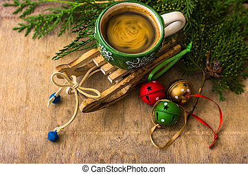 Cup of coffee with christmas decorations