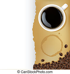 Cup Of Coffee With Coffee Grains And Old Paper, Vector...