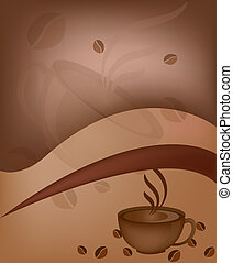 Cup of coffee with coffee grains
