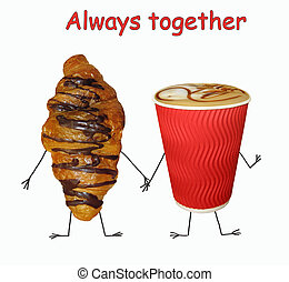 Cup of coffee with croissant 2