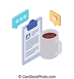 cup of coffee with curriculum vitae on white background