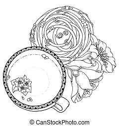 Cup of coffee with floral mandala circle. For web, printed...