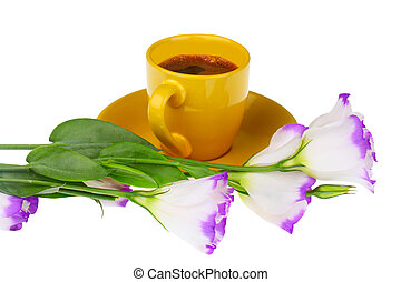 cup of coffee with flowers isolated on white