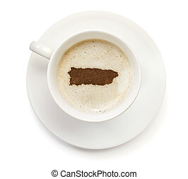 Cup of coffee with foam and powder in the shape of Puerto Rico.(series)