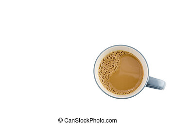 Cup of coffee with foam isolated on white background all top view