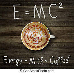 Cup of coffee with formula