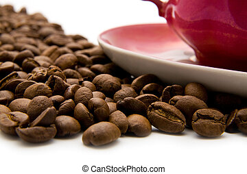 cup of coffee with grains