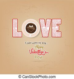 cup of coffee with heart valentines