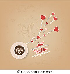 cup of coffee with heart valentines day greeting card