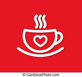 Cup of coffee with heart.