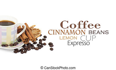 Cup of coffee with ingredients on a white background