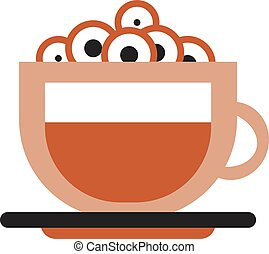 Cup of coffee with marshmallow simple illustration on white background
