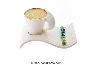Cup of coffee with milk on a beautiful stand