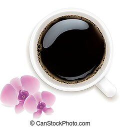 Cup Of Coffee With Orchids, Isolated On White Background, Vector Illustration