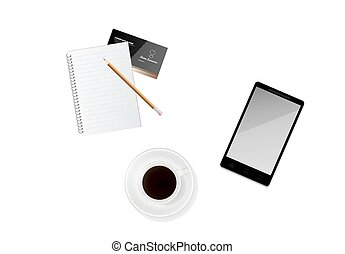 cup of coffee with paper, pencil and phone