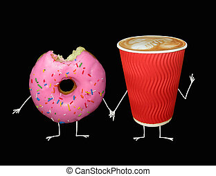 Cup of coffee with pink donut 2