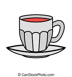 cup of coffee with plate isolated icon