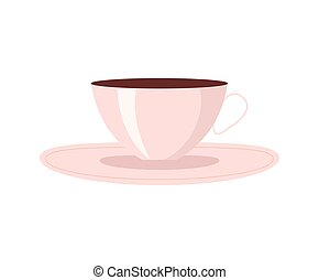 Cup of Coffee with Plate, Vector Illustration
