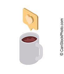 cup of coffee with speech bubble on white background