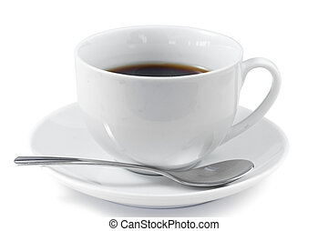 Cup of coffee with spoon and saucer