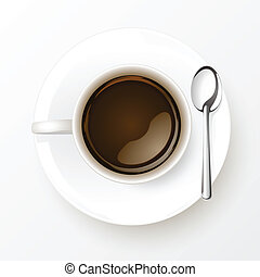 Cup of Coffee with spoon isolated on white background