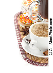 coffee with sweets isolated on white