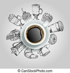 Cup of coffee with sweets vector creative illustration