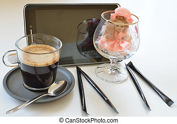 Cup of coffee with tablet III