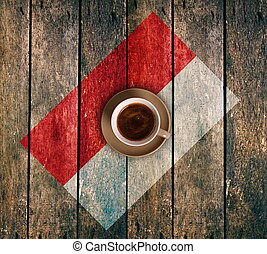 Cup of coffee with the flag