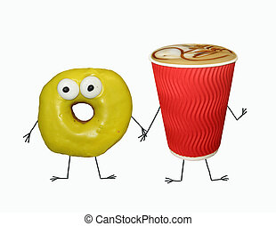 Cup of coffee with yellow donut 2