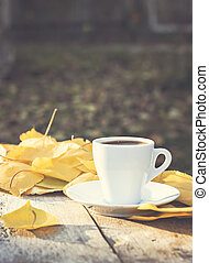 cup of espresso coffee on an autumn nature