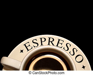 cup of espresso coffee - cup of espresso at the bottom edge