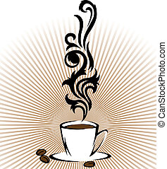 Cup of flavored coffee - Stylized cup of coffee with clouds...