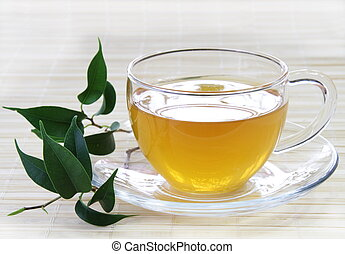 Cup of Fresh Green Tea with Leaves