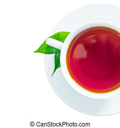 Cup of freshly brewed tea - Overhead view of a refreshing ...