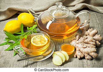 Cup of ginger tea with honey and lemon