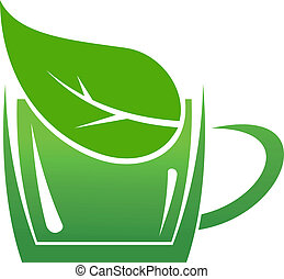 Cup of green bio beverage produced without harm to the environment in a sustainable manner, cartoon illustration of a cup or mug with a leaf in it