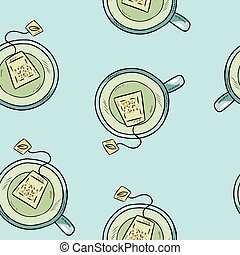 Cup of green tea. Hand drawn cute cartoon seamless pattern. Texture background tile