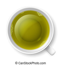 Cup of green tea - Realistic cup of transparent green tea...