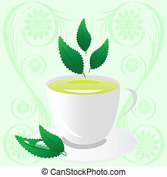 cup of green tea with leaves