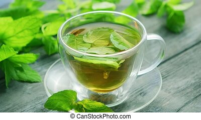 Cup of green tea with mint and lemon - From above view of...