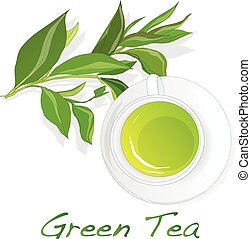 Cup of green tea with tea leaves